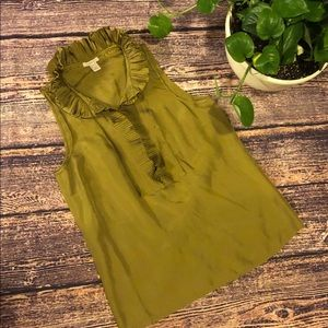 🍏 JCrew 100% Silk Green Sleeveless Blouse 🍏